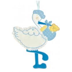 Fiocco Nascita Cesto Nascita Porta prodotti Azzurro Fiocco-Orsetto