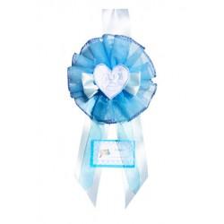 Fiocco Nascita Stellina Azzurra Grande da ricamo Creato artigianalmente a mano