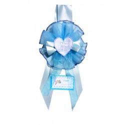 Fiocco Nascita Carrozzina Azzurro Grande Creato artigianalmente a mano